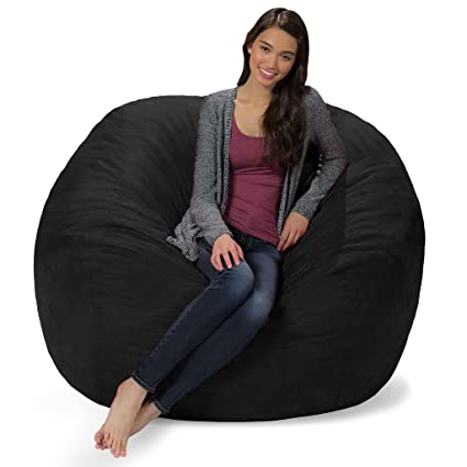 Terrific Comfy Sacks 5 Ft Memory Foam Bean Bag Chair Jet Black Cords Gmtry Best Dining Table And Chair Ideas Images Gmtryco
