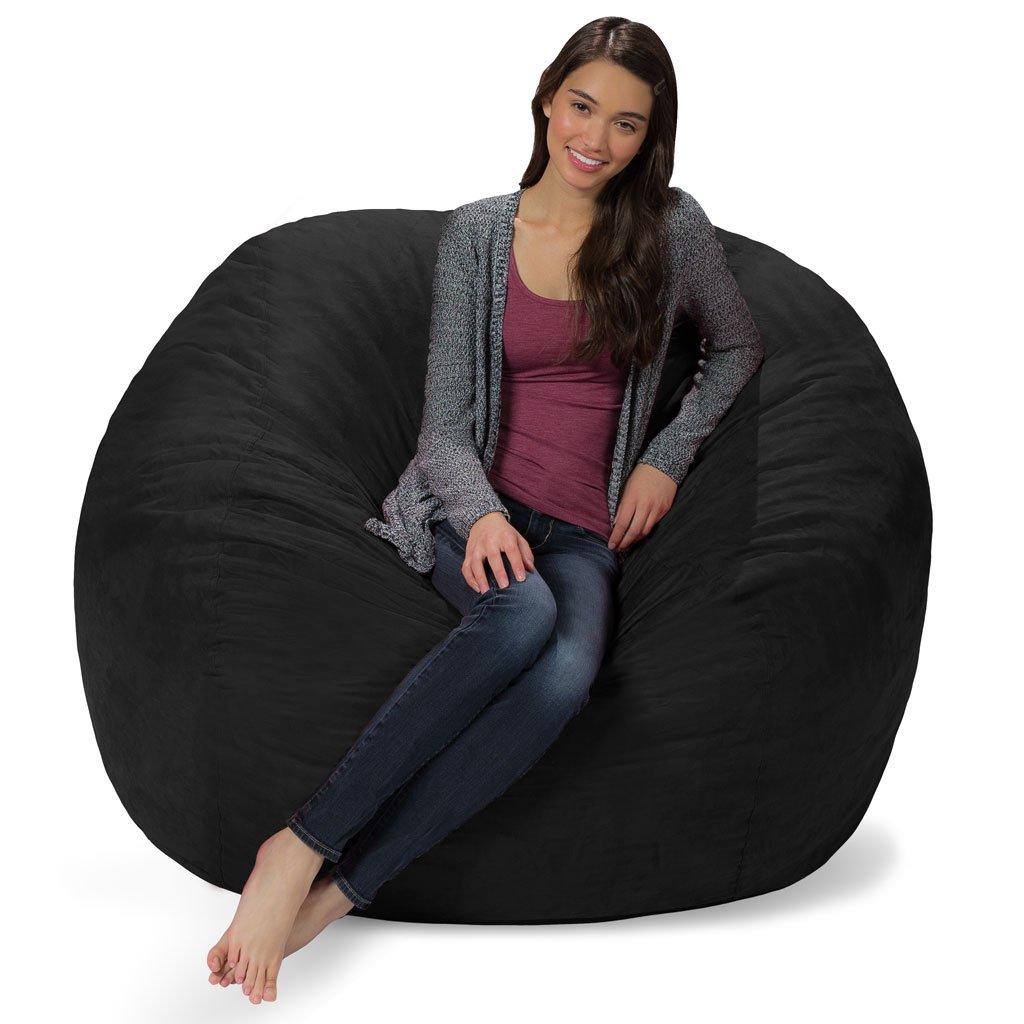 Comfy Sacks 5 ft Memory Foam Bean Bag Chair, Jet Black Cords