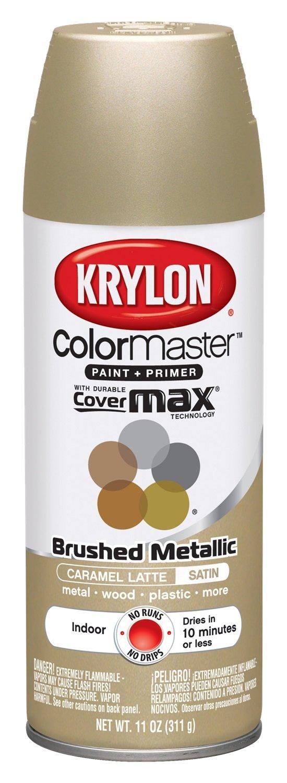 Krylon K05125007 ColorMaster Paint + Primer, Brushed Metallic, Satin, Caramel Latte, 11 oz.