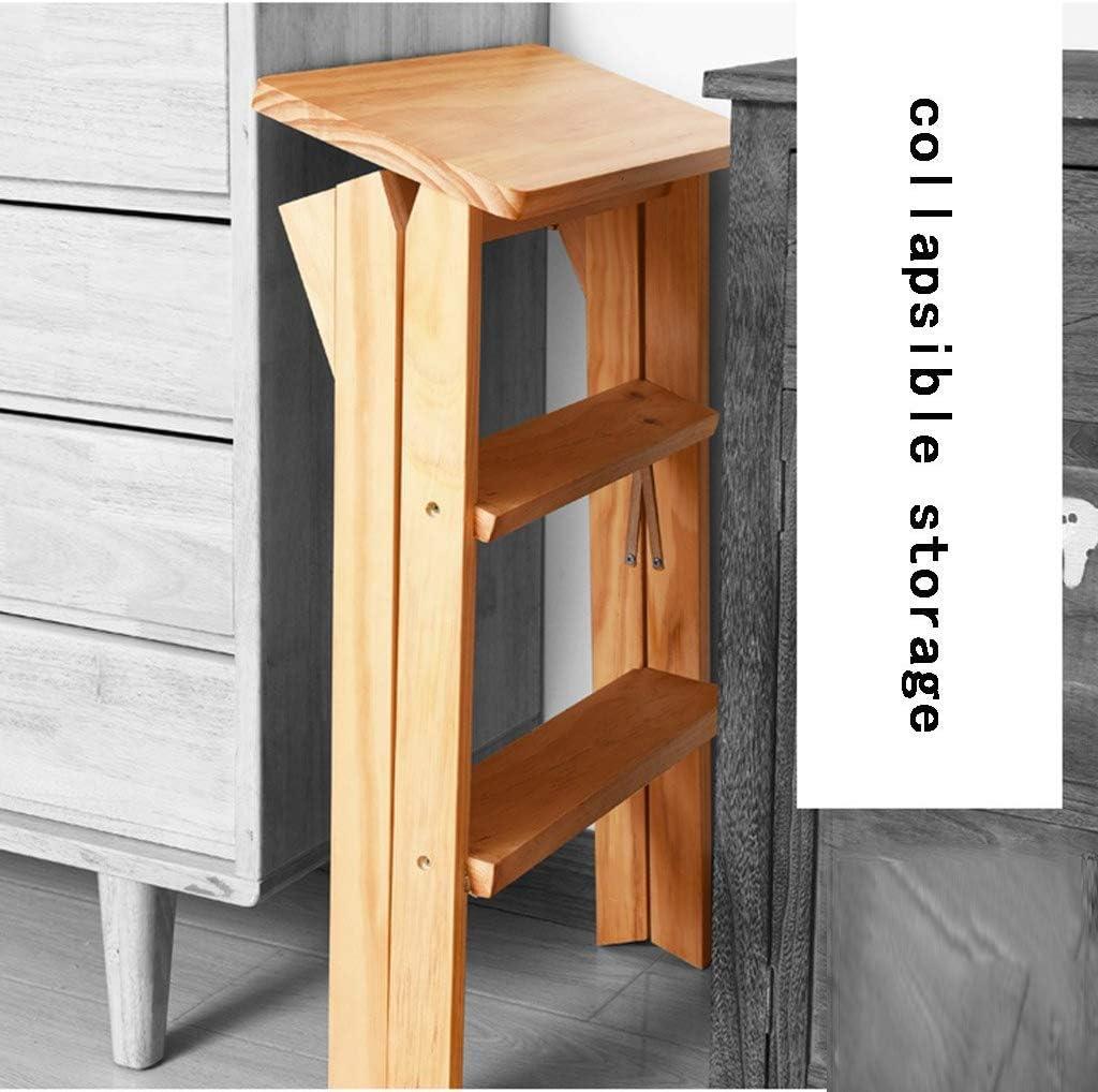 GBX Taburete Plegable Fácil Y Multifunción Conveniente, Taburete de la Cocina Asiento Escalera Plegable Silla Multifunción Portátil Hogar Banco de Madera Alto,Si Una
