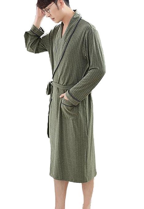 DAFREW Bata de Manga Larga para Hombres Sección Delgada Rayas de Moda Batas de baño Pijamas