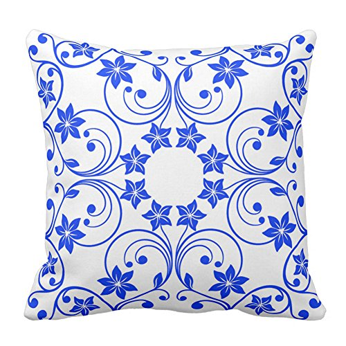 Floral Design Navy Blue and White Flower Pattern Personalized Decorative Pillow Cover Bedding Cushion Cover With Zipper, 20X20 - Navy Pradas Blue