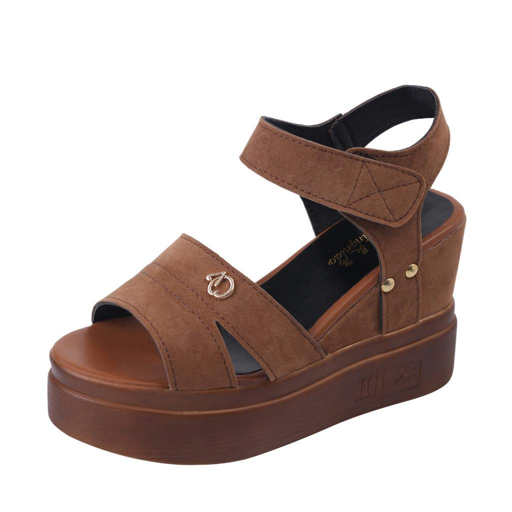 2a21c4cec8 Amazon.com: Women Gladiator Sandals Leather Wedge Platform Sandals Peep Toe  Buckle Roman Shoes Casual Summer Outdoor Beach Shoes for Women & Girls:  Kitchen ...