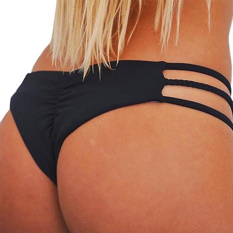 Mujeres Tangas Traje de Baño Nadar Troncos Vendaje Bikini Ropa Interior Braguitas Playa (M,