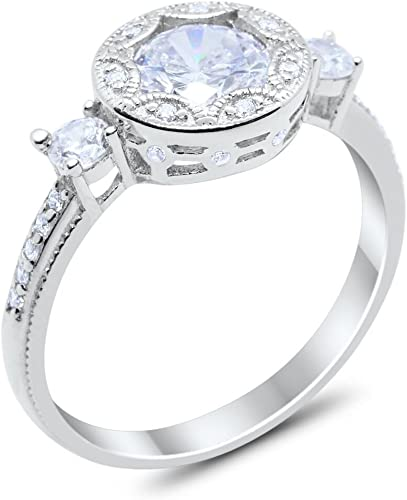 Halo Vintage Style Wedding Engagement Ring Round Cubic Zirconia 925 Sterling Silver Choose Color Blue Apple Co