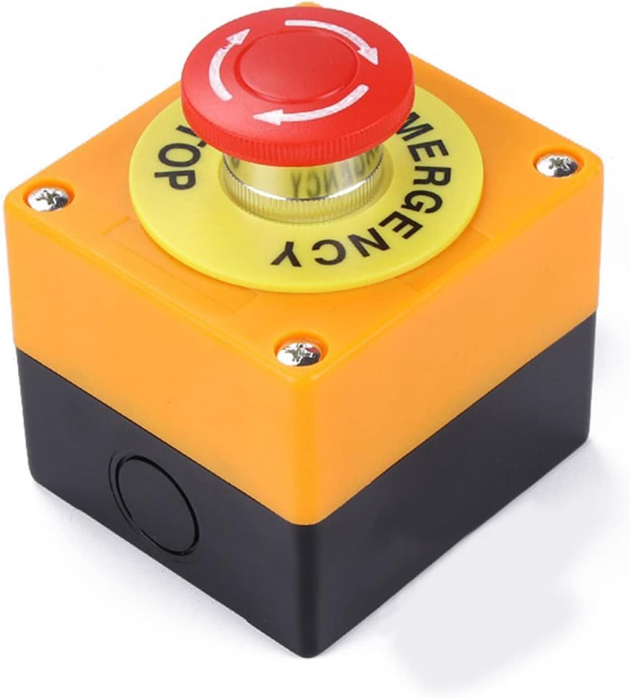 Interruttore a Pulsante 1 NO 1 NC 10A 660V per Arresto di Emergenza Impermeabile