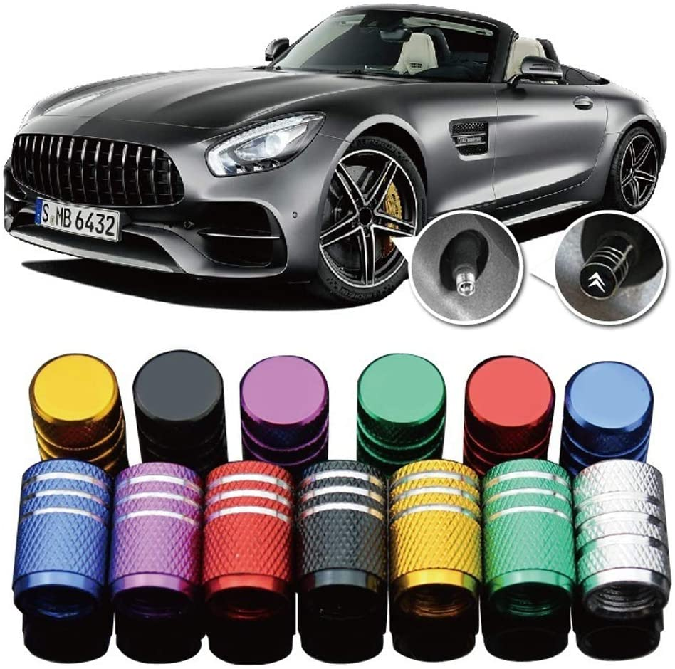 Truck Motorcycles 4 Pieces SUV Car Tire Air Valve Caps- Auto Wheel Tyre Dust Stems Cover with Logo Emblem Waterproof Dust-Proof Universal fit for Cars