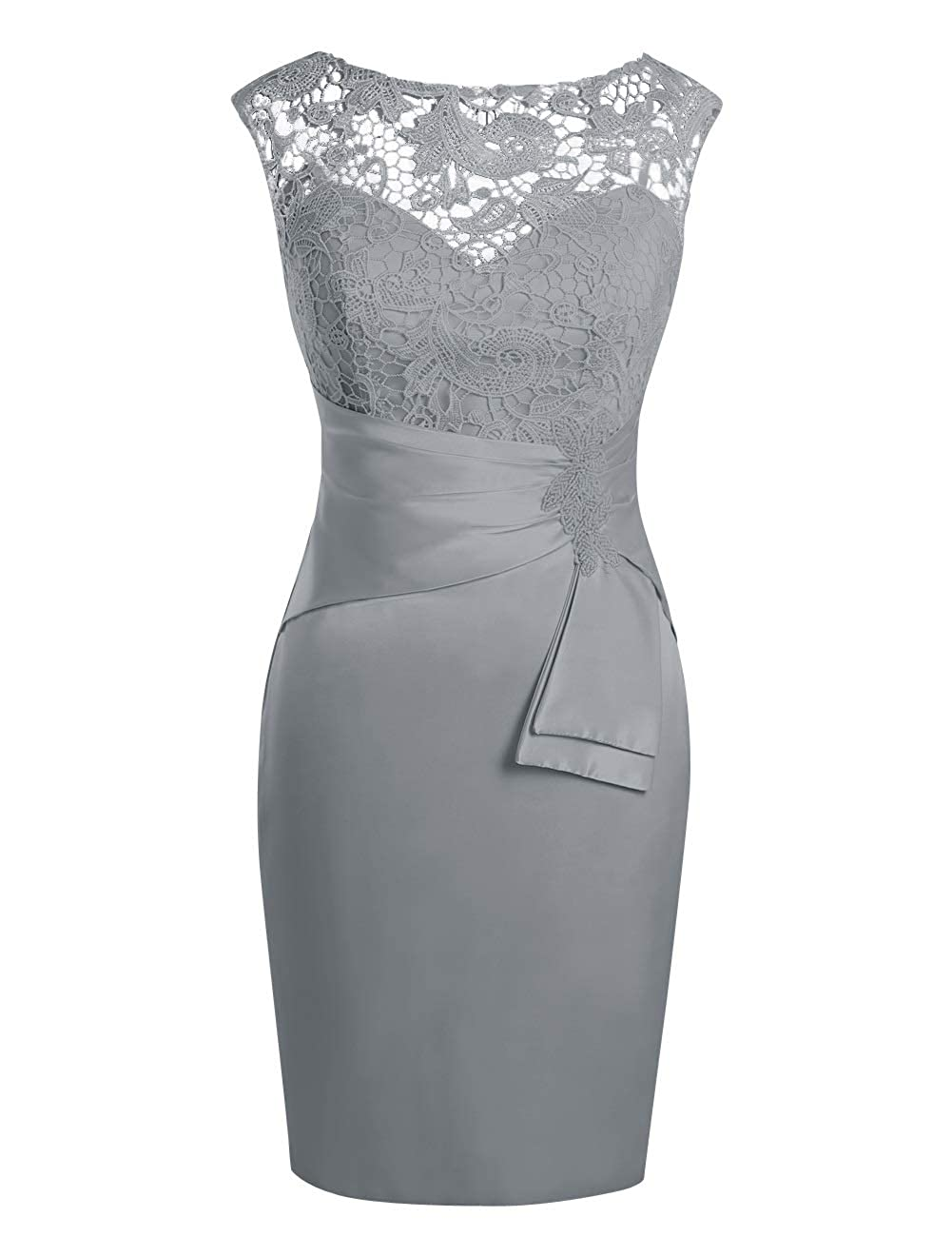 Steel Grey MorySong Women's Hollow Out Lace Beading Knee Length Mother of The Bride Dress