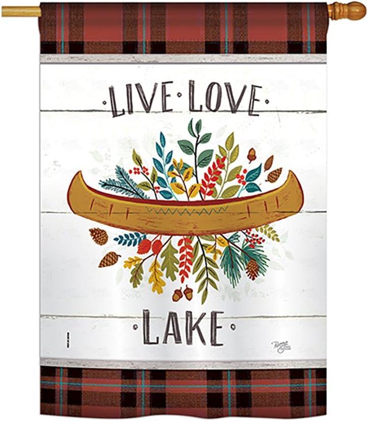 "Breeze Decor H109073 Live Love Lake Nature Outdoor Decorative Vertical House Flag, 28"" x 40"", Multi-Color"