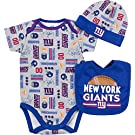 NFL New York Giants Bodysuit, Bib & Cap Set (3 Piece), 0-3 Months, Gray