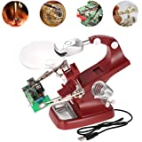 2X Led Light Magnifier & Desk Lamp Helping Hand with Magnifying Glass-For Soldering, Assembly, Repair, Modeling,Crafts (Red)