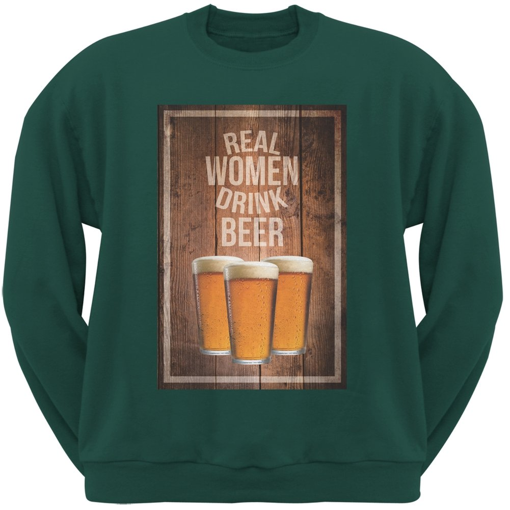 Real Men Drink Beer Forest Green Adult Sweatshirt Patricks Day St