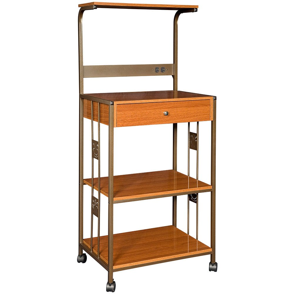 Amazon.com   Hazelwood Home Microwave Cart With Wood Top (cherry)  Kitchen  Cart That Includes Electrical Outlets And Wheels For Your Kitchen Storage  And ...