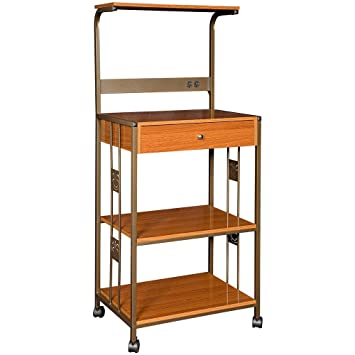 Hazelwood Home Microwave Cart with Wood Top  cherry   Kitchen Cart that  includes Electrical. Amazon com   Hazelwood Home Microwave Cart with Wood Top  cherry