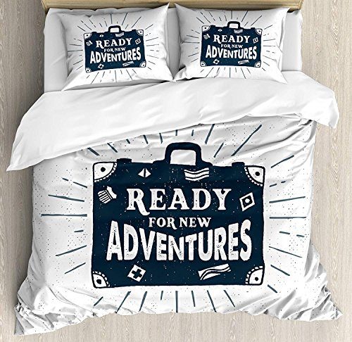 - 4 Piece Duvet Cover Set Full Size Ready for New Adventures Briefcase Traveling Journey Themed Design Work of Art Print,Luxury Microfiber Bedding Set(1 Flat Sheet 1 Duvet Cover and 2 Pillow Cases)