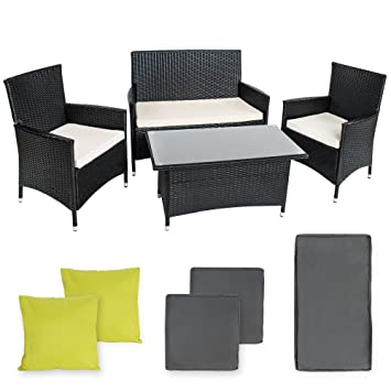 tectake conjunto muebles de jardn en poly ratan aluminio color antracita incluyendo set de fundas