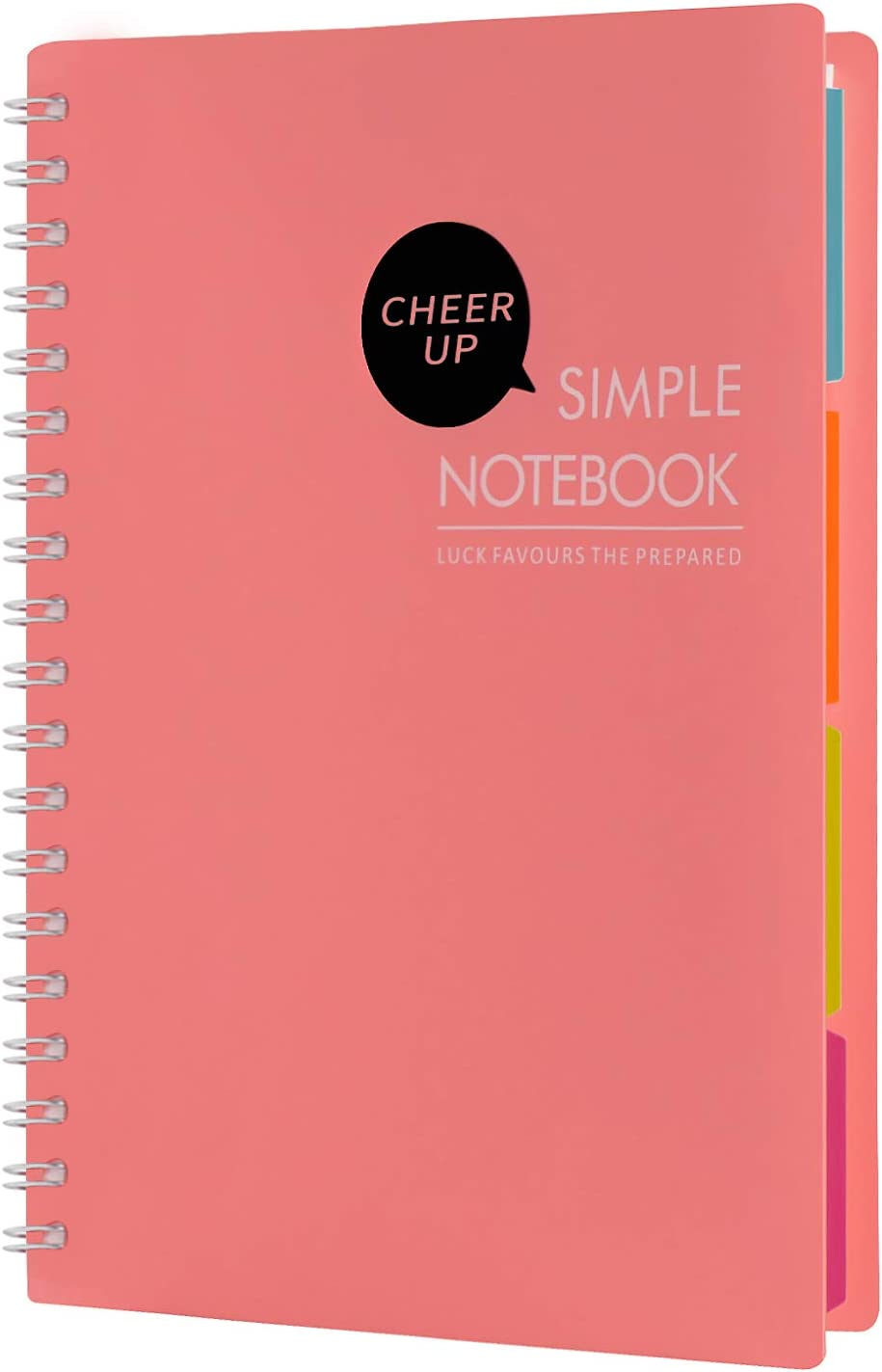 "Cheerup Spiral Notebook, B5 10"" x 7"", 4 Subjects with Divider, 240 Pages Wide Ruled (Pink)"