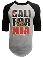 Cali Men's California Republic Bear Logo Half-Sleeve Baseball Shirt