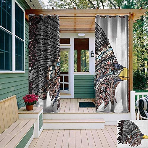 leinuoyi Eagle, Sun Zero Outdoor Curtains, Tribal Culture Inspired Hand Drawn Eagle in Feathered Designed Headdress Hippie Style, Set for Patio Waterproof W96 x L96 Inch ()