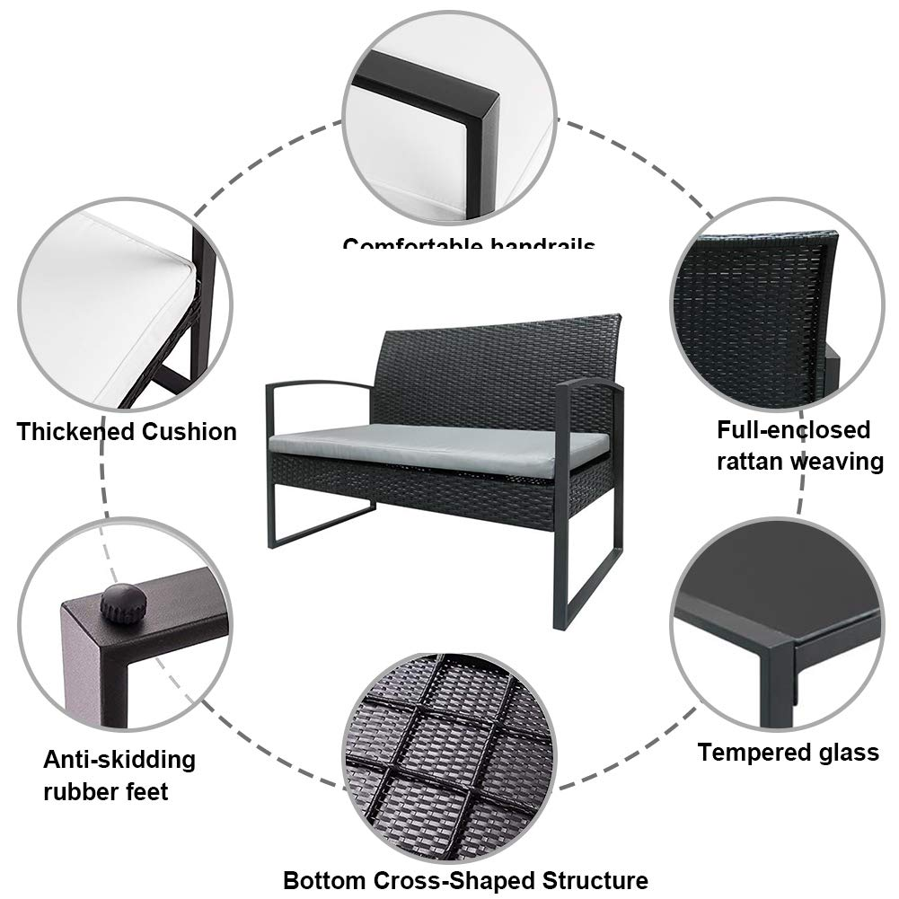 MTFY Outdoor Conversation Sets, 3-4 Pieces Rattan Patio Furniture Sets Wicker Garden Lawn Pool Backyard Sofa w Weather Resistant Cushions,2 Dining Chairs, Tempered Glass Coffee Table Black-4 Pieces