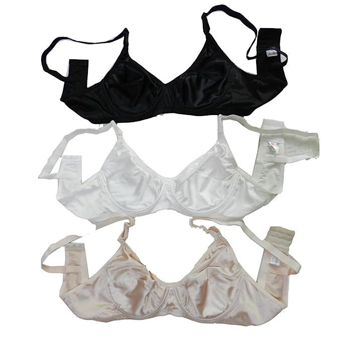 Panasilk 3pcs Sexy para Mujer 100% Pure Seda Sujetador cómodo aro sólido 38 C 46 C: Amazon.es: Ropa y accesorios