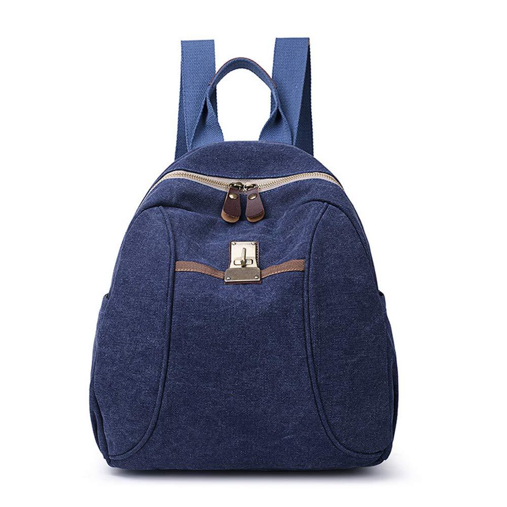 Sytian Vinatge Style Simple But Fashion Design Canvas Shcool Bag Laptop Backpack Travel Backpack (Nice Blue)