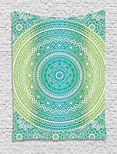 Teal And Lime Tapestry By Ambesonne, Ombre Mandala Ethnic Pattern With  Flower And Petals Hippie Style Art, Wall Hanging For Bedroom Living Room  Dorm, ... Part 82