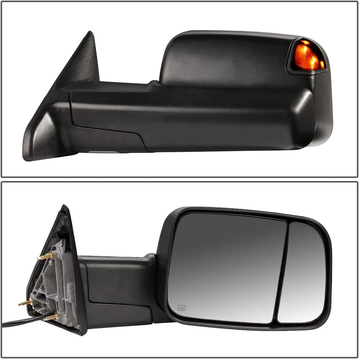 For 13-16 DODGE RAM Pickup Black Power+Heat+Smoked LED Light Side Towing Mirror
