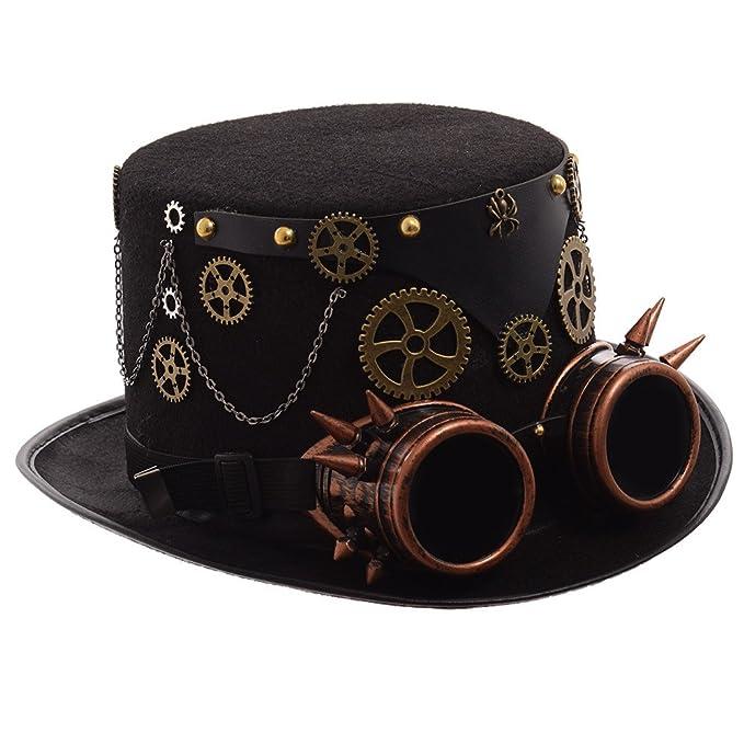 GRACEART Steampunk Vendimia Lana Sombrero de Copa con Gafas de protección   Amazon.es  Ropa y accesorios 015b7802de3