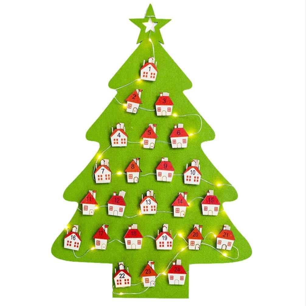 Pausseo Christmas Felt Calendar Lights Tree - Decoration Pendant Hotel Lobby Family House Party Decor Striking Warm Lamp Soft Yellow Light Bulb - Green and Re (Green)