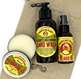Medicine Man's Beard & Mustache Care Kit: Anti - Itch Beard Wash 4,7 FL OZ, Beard Oil 2 FL OZ, Beard & Mustache Pomade 2 FL OZ - In a Mustache Stamped Linen Pouch