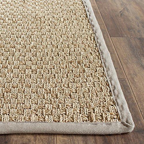 safavieh natural fiber collection nf114p basketweave natural and grey seagrass area rug 2 39 x 3. Black Bedroom Furniture Sets. Home Design Ideas