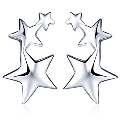 Infinite U 925 Sterling Silver 3 Pentagrams Stars Ear Studs Earrings Earbob for Women/Girls, Silver
