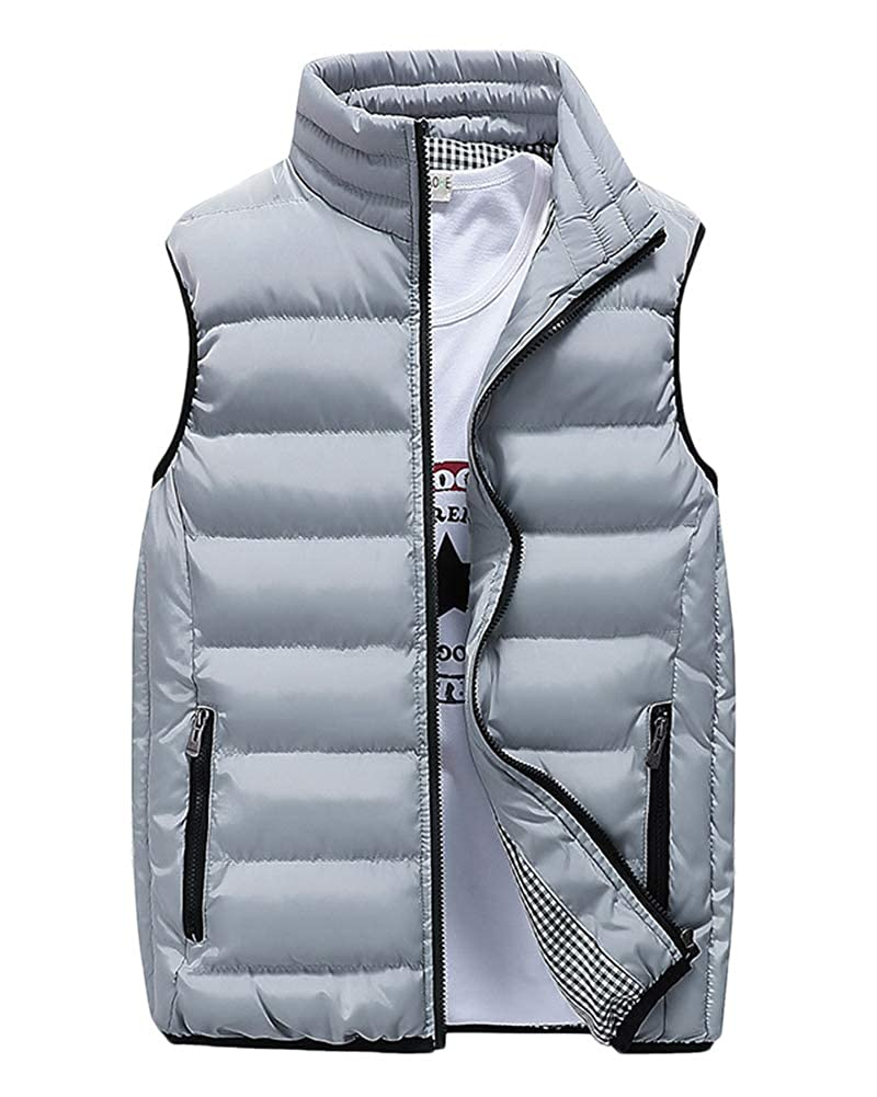 AnyuA Mens Coat Vest Short Padded Down,Outdoor Parka Puffa Gilet Jacket