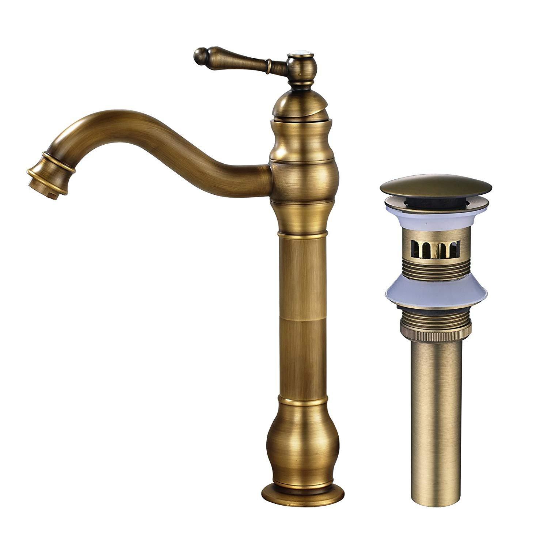 MEIBATH Bathroom Sink Taps Single Handle Countertop Faucet Vessel Tap + Sink Pop up Drain(with Overflow) Antique Brass Basin Mixer Taps Bathroom Kitchen Faucets