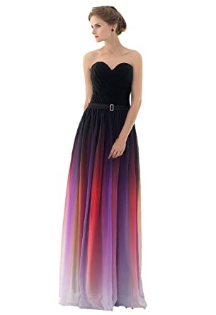 Engerla Womens Sleeveless Strapless Ruched Padded Ombre Maxi Chiffon Bridesmaid Dress Black+Purple UK14