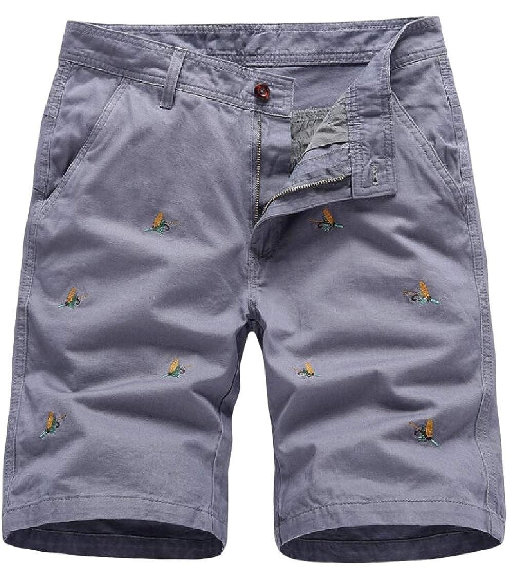 Hajotrawa Mens Pocket Floral Print Business Zipper High Waist Straight Short Pants