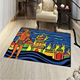 Psychedelic Customize Floor mats for home Mat Ethnic Spiritual Faith Prince Eastern Tribal Ancient Oriental Bohemian Image Oriental Floor and Carpets 36''x48'' Orange Blue