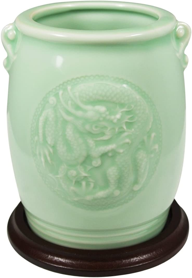 Wrapables Gifts and Decor Chinese Dragon and Phoenix Celadon Ceramic Vase, 4.5-Inch