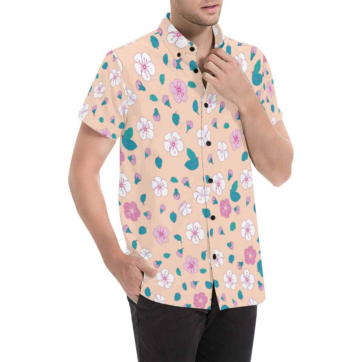 InterestPrint Ditsy Floral with Small Pink Flowers Printed Short Sleeve Button Down Shirt for Men