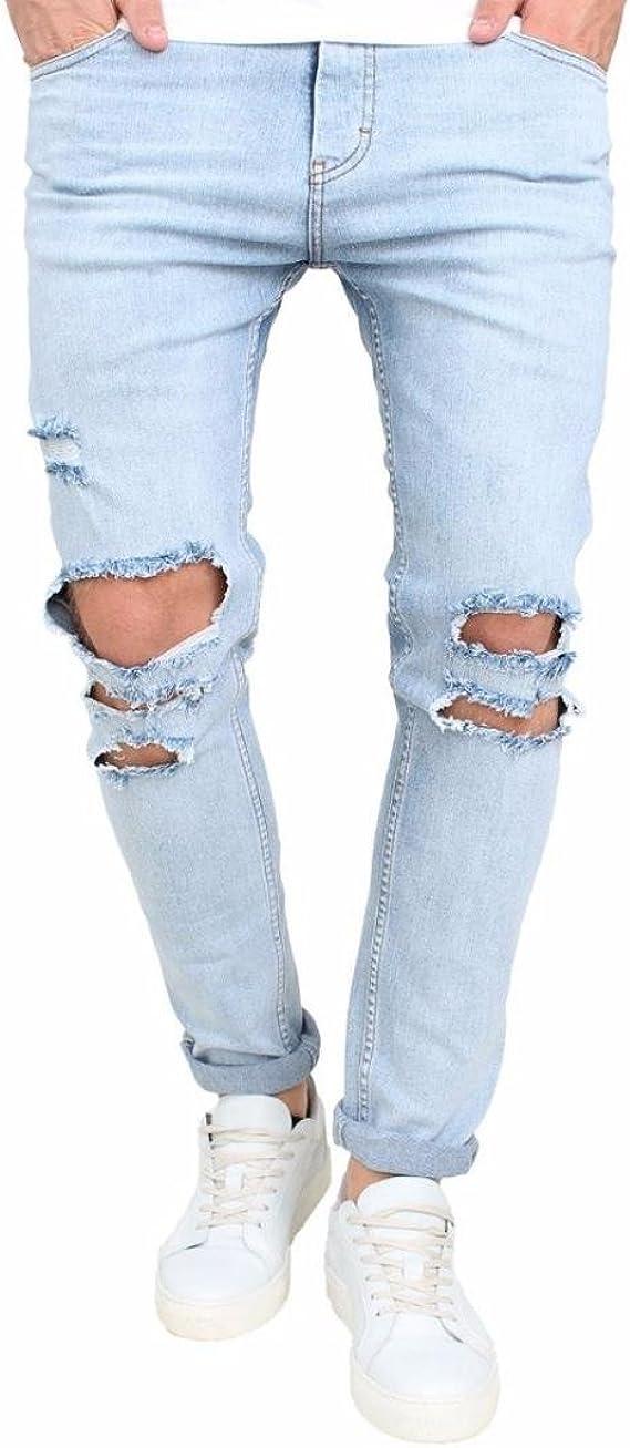 Jeans Hose Kolylong® Herren Stretchy Jeans Hosen mit löchern