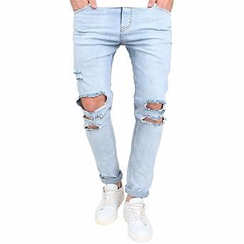unschlagbarer Preis stylistisches Aussehen zeitloses Design Jeans Hose Kolylong® Herren Stretchy Jeans Hosen mit löchern ...