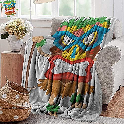 XavieraDoherty Travel Blanket,Tiki Bar,Native Man Wearing a Mask Illustration Cartoon Tribal Costume Primitive Ritual, Multicolor,Cozy Hypoallergenic, Easy to Carry Blanket 60