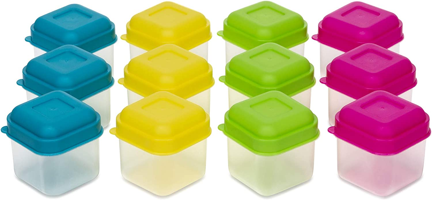 (Set of 12) Mini Food Storage Containers, 3.5 Ounce, Condiment, Sauce and Salad Dressing Containers, Lunch Boxes