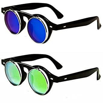 Big Kids Round Flip Up Mirrored Fun Sunglasses Ages 7-16 -Teen