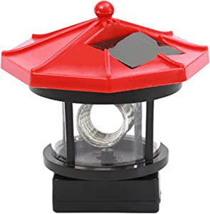 LED Solar Powered Lighthouse,360 Degree Rotating Lamp Water Resistance Statue Rotating Lights for Garden Yard Outdoor Decor