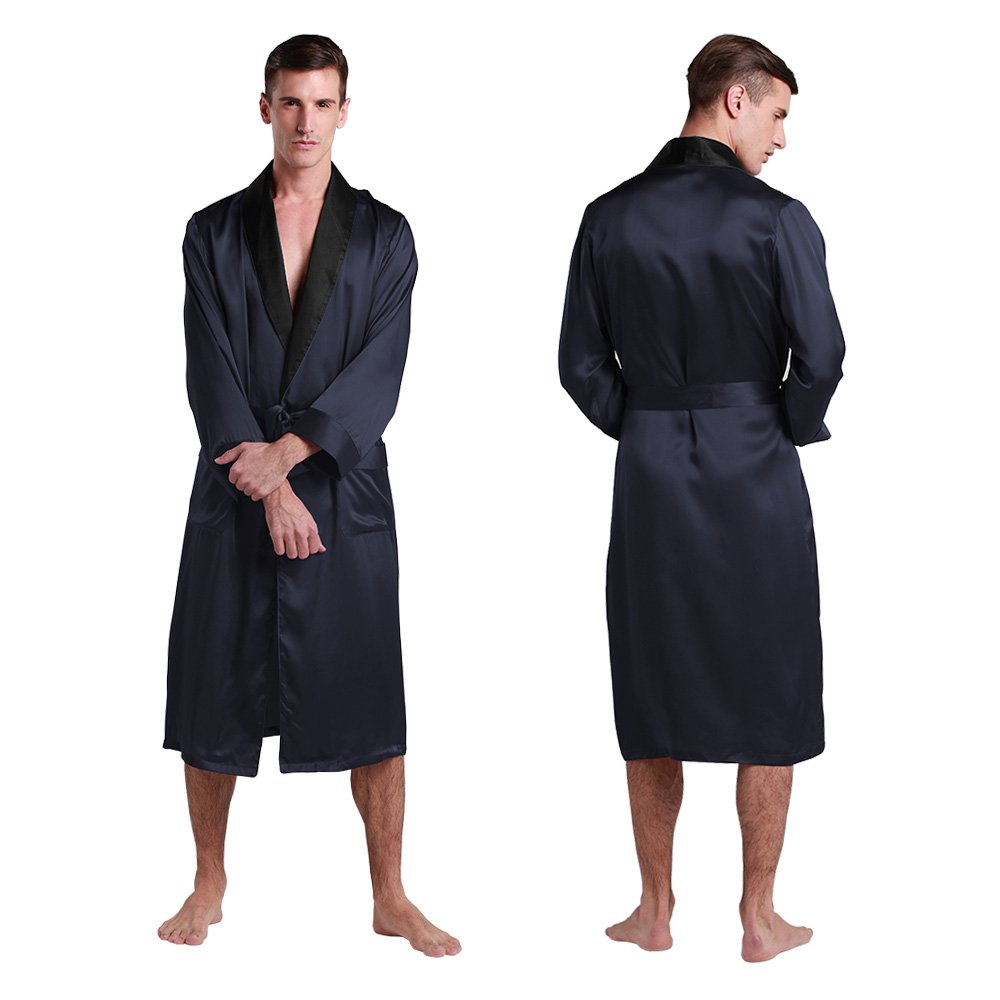 LilySilk Men's Silk Robe Luxurious Long Bathrobe 100% Mulberry Silk Sleepwear ca2301