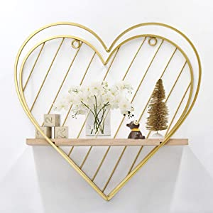 Afuly Gold Wall Shelf Metal Heart Floating Shelves Cute Modern Wall Decor Unique Gifts for Kid Children Room Bedroom Bathroom Living Room