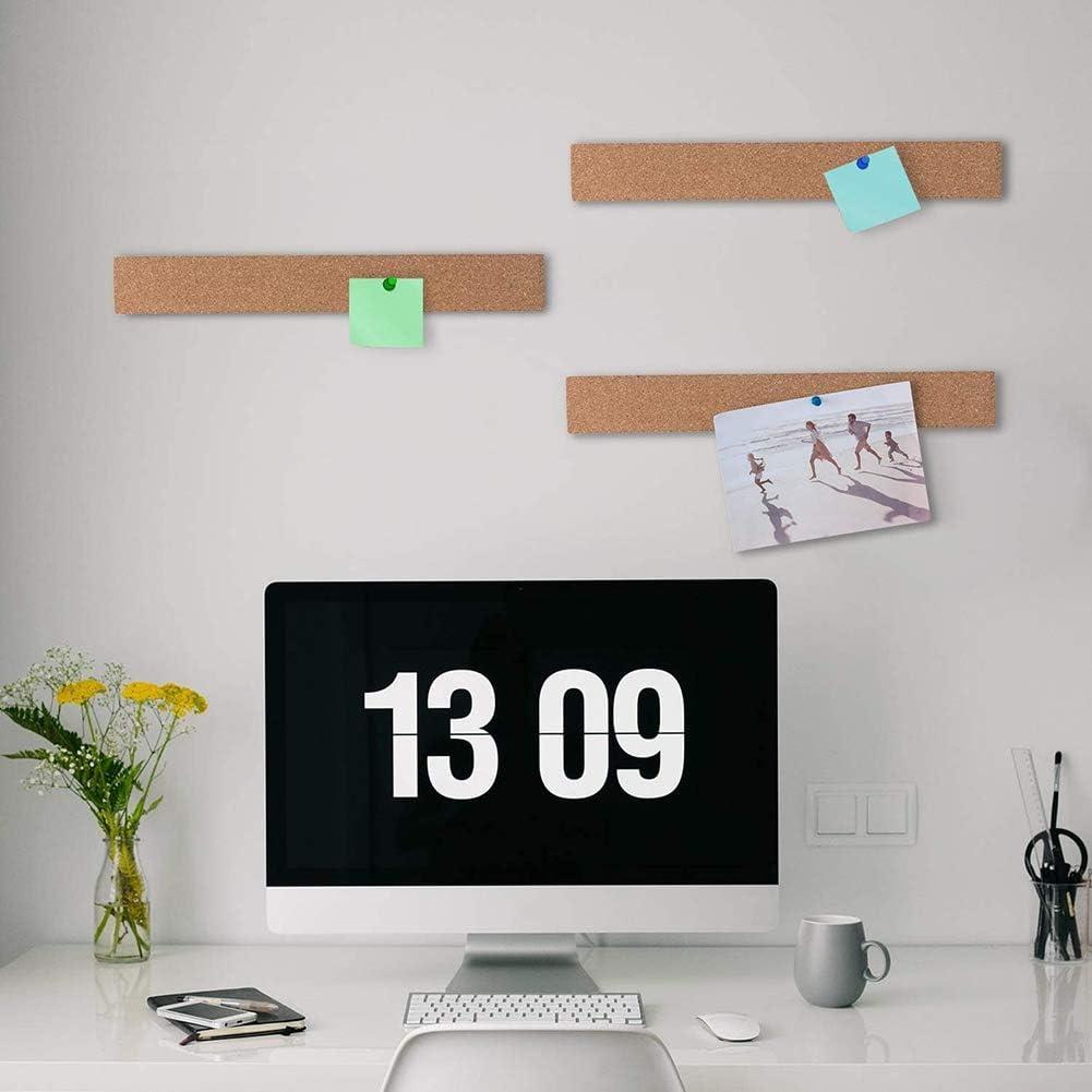 Ymlove 4PCS Cork Bulletin Board Natural Frameless Cork Strip avec 40 punaises multicolores pour les d/écorations de bureau