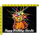 Infinity War Gauntlet Personalized Birthday Edible Frosting Image 1/4 sheet Cake Topper